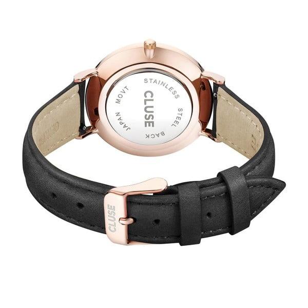 Dámske hodinky s čiernym koženým remienkom a detailmi vo farbe ružového zlata Cluse La Bohéme