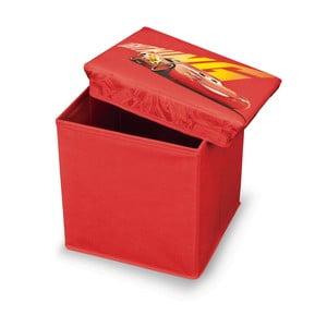 Červená úložná taburetka na hračky Domopak Cars, dĺžka30 cm
