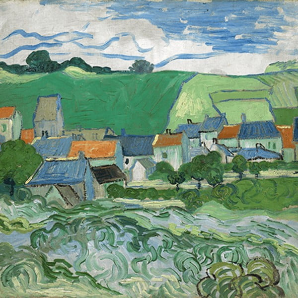 Obraz Vincenta van Gogha - View of Auvers, 55x55 cm