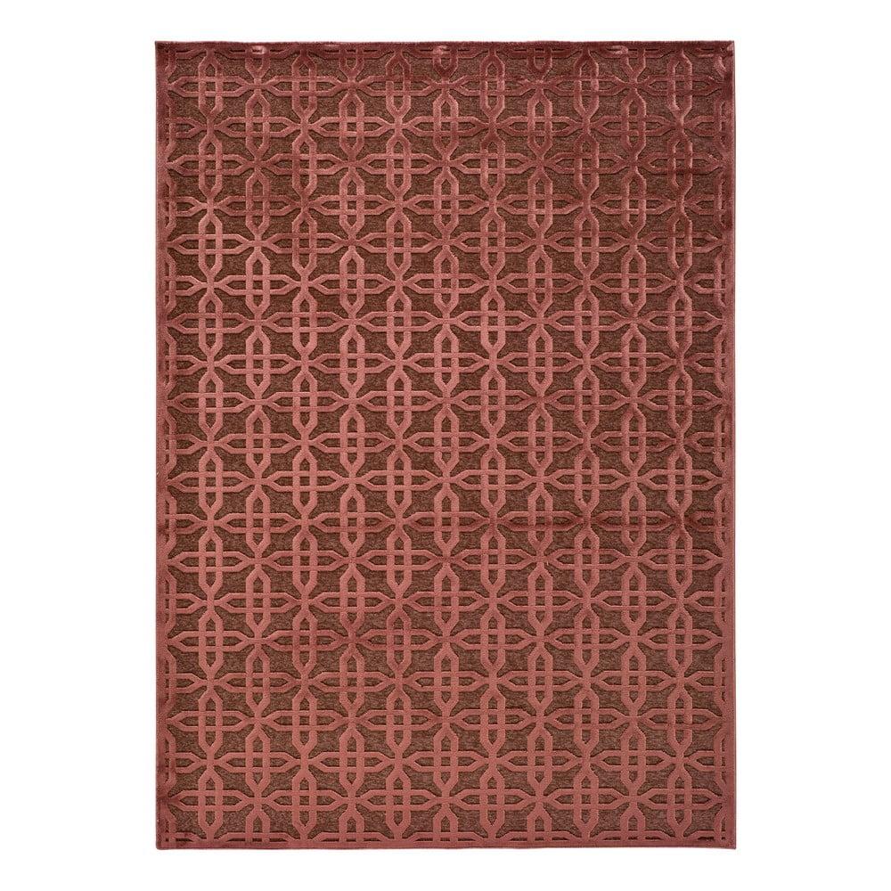 Červený koberec z viskózy Universal Margot Copper, 200 x 300 cm