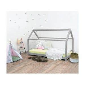 Sivá detská posteľ bez bočníc zo smrekového dreva Benlemi Tery, 90×200 cm