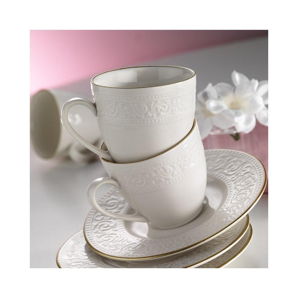 Sada 6 porcelánových hrnčekov s podšálkami Kutahya Simple White
