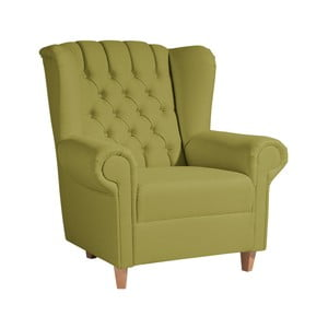 Zelené kreslo ušiak Max Winzer Vary Leather Green