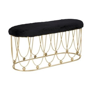 Čierna pokstrovaná lavica so železnou konštrukciou v zlatej farbe Mauro Ferretti Amelia