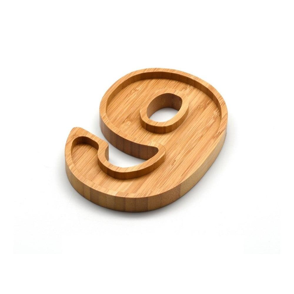 Bambusová miska na oriešky v tvare čísla 9 Bambum Numero