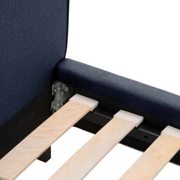 Tmavomodrá posteľ VIVONITA Kent 160x200cm, čierne nohy