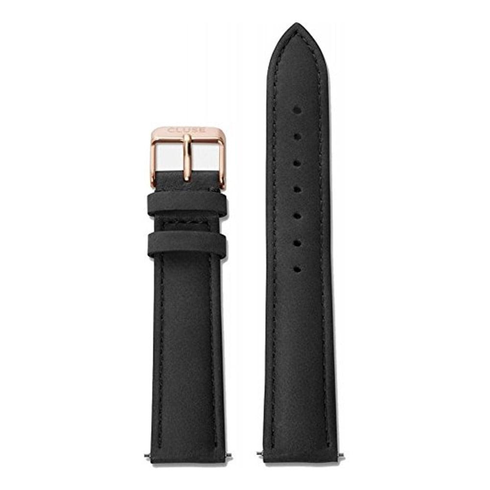 Čierny kožený remienok s detailmi vo farbe ružového zlata k hodinkám Cluse La Bohème