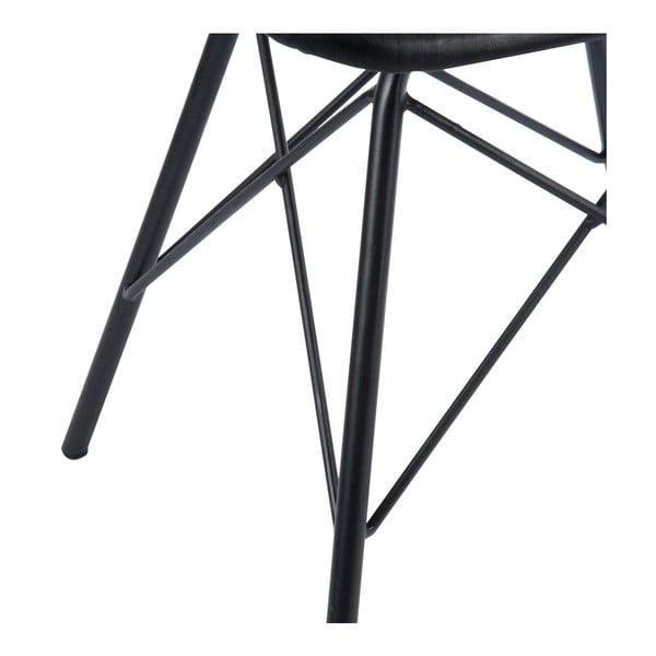 Stolička s koženým poťahom Cross, čierna