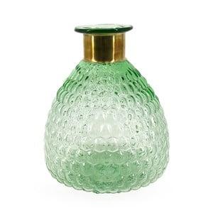 Zelená sklenená váza s detailom z medi Moycor Smith