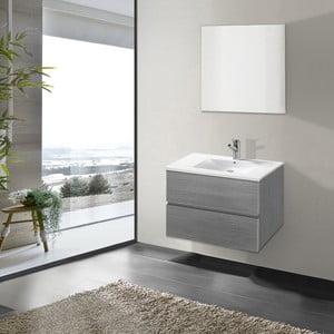 Kúpeľňová skrinka s umývadlom a zrkadlom Flopy, odtieň sivej, 70 cm