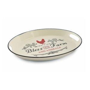 Kovový servírovací tanier Villa d'Este Rooster Ovale