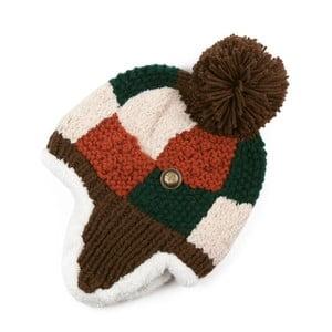 Hnedá kockovaná čapica Dominique