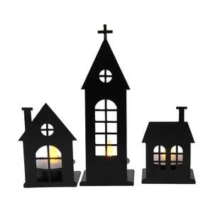 LED svietice dekorácie Candle City, čierna