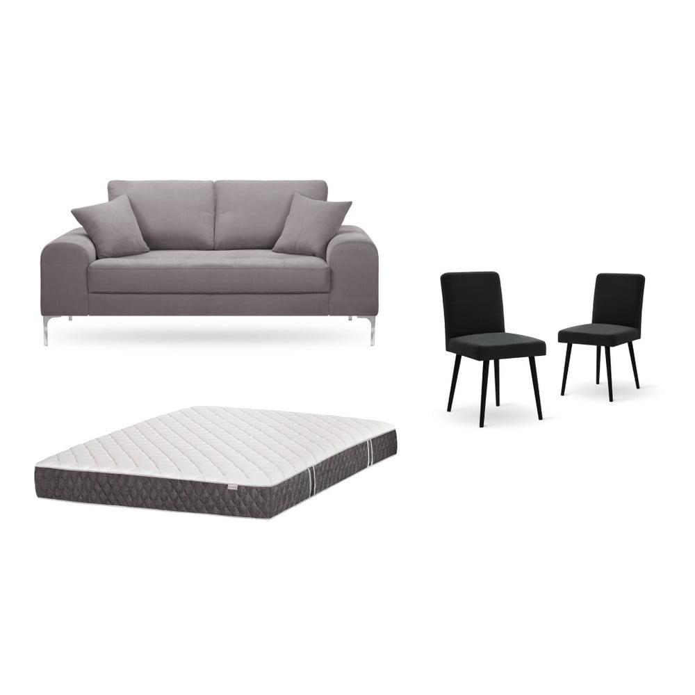 Set dvojmiestnej hnedej pohovky, 2 čiernych stoličiek a matraca 140 × 200 cm Home Essentials
