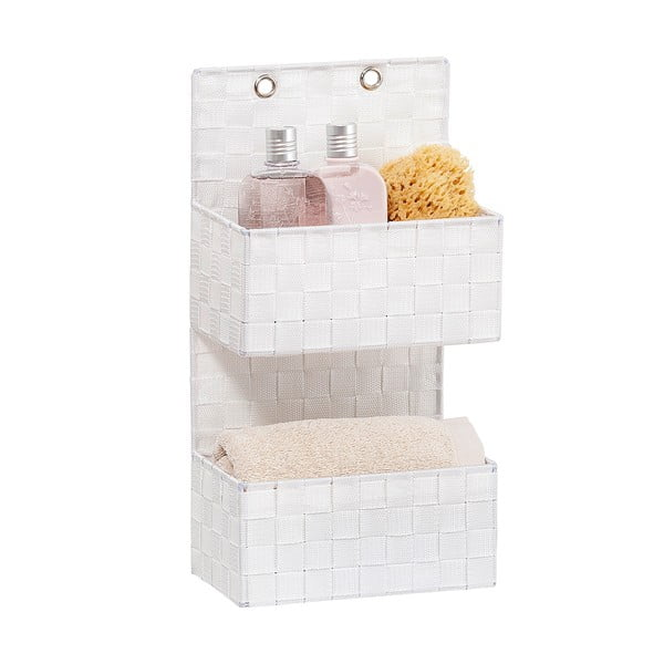 Biely dvojitý kúpeľňový organizér Wenko Adria