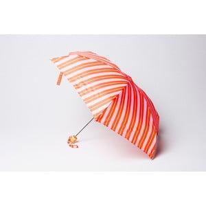 Skladací dáždnik Stripe, oranžovo-ružový