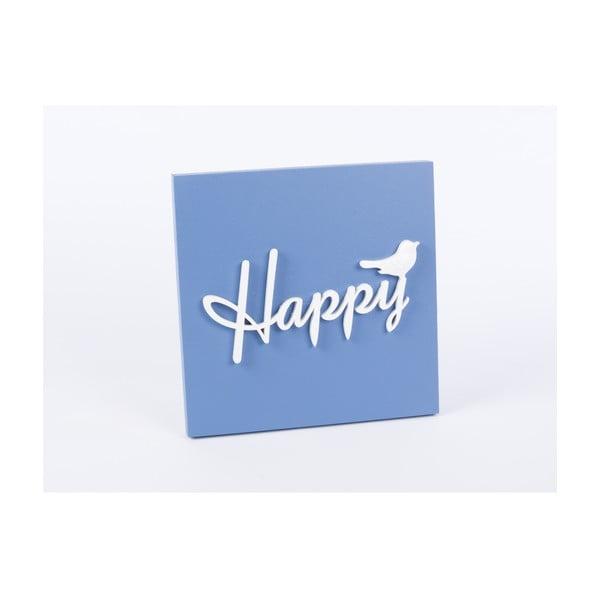 Drevený obraz Happy 30x30 cm, modrý
