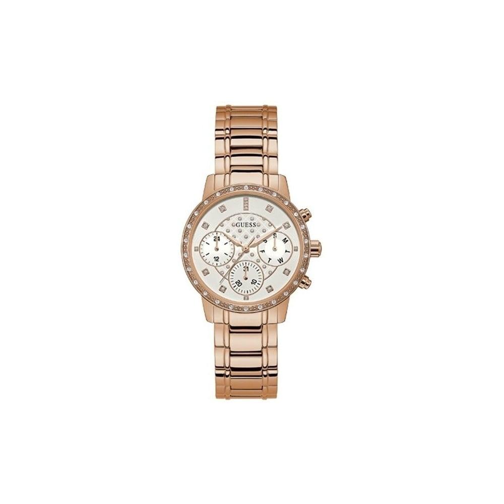 Dámske hodinky v ružovozlatej farbe s antikoro remienkom Guess W1022L3