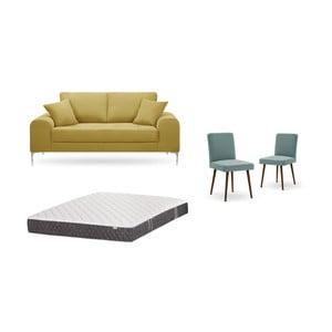 Set dvojmiestnej žltej pohovky, 2 sivozelených stoličiek a matraca 140 × 200 cm Home Essentials