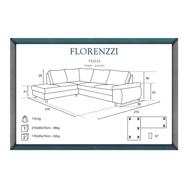 Tyrkysová pohovka Florenzzi Tozzi s leňoškou na ľavej strane