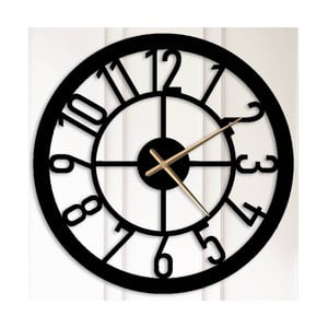 Čierne kovové nástenné hodiny Albert
