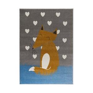 Sivý koberec s motívom líšky KICOTI Grey, 80 × 150 cm