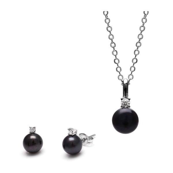 Sada náhrdelníka a náušníc z čiernych riečnych periel Classic