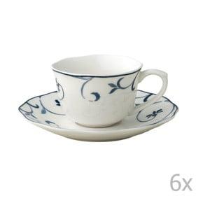 Sada 6 porcelánových hrnčekov s tanierikmi Brandani Ricciolo