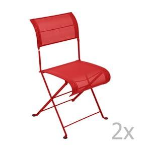 Sada 2 červených skladacích stoličiek Fermob Dune