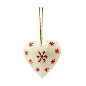 Závesná dekorácia Antic Line Heart with snowflake in white