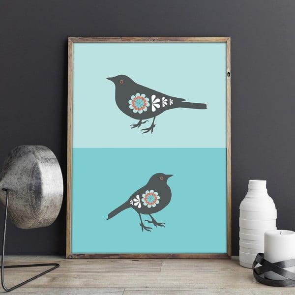 Plagát Vtáčiky modré, stredný
