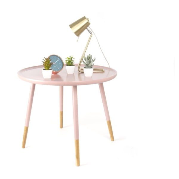 Ružový drevený príručný stolík Leitmotiv Graceful