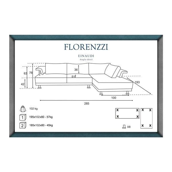 Šedá pohovka Florenzzi Einaudi s leňoškou na pravej strane