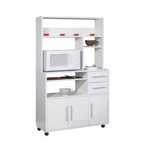 Biely pojazdný kuchynský úložný systém s policami Symbiosis Cesar