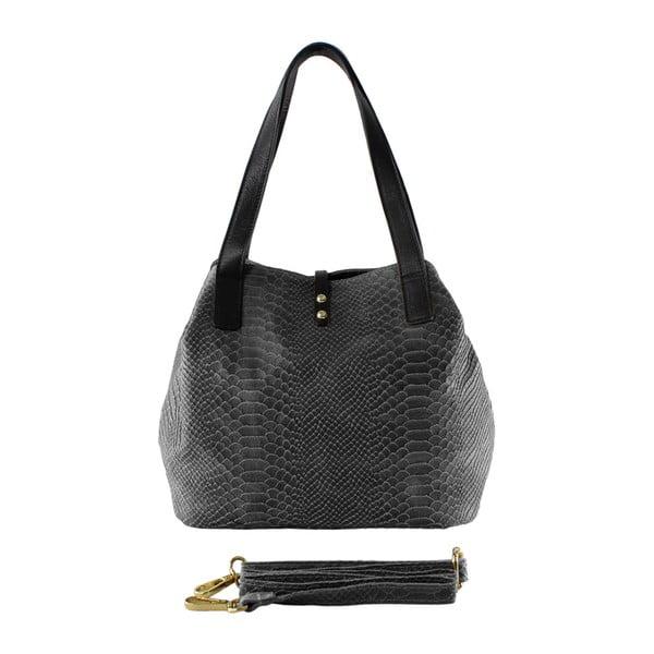 Sivá kožená kabelka Ilaria