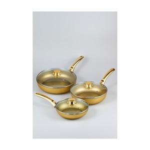 Sada 3 panvíc s pokrievkami Bisetti Stonegold Gold Handles