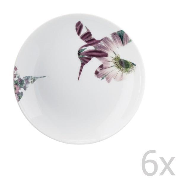 Sada 6 porcelánových dezertných tanierov Flutter, 14 cm
