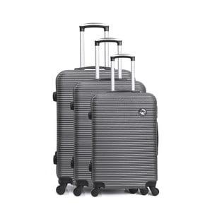Sada 3 sivých cestovných kufrov na kolieskách Bluestar Vanity
