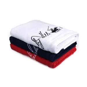 Sada bieleho, tmavomodrého a červeného uteráka Beverly Hills Polo Club Tommy Yazi, 50×100 cm