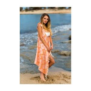 Oranžové plážové pareo z bavlny a bambusu s kapucňou Begonville