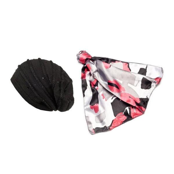Čiapka so šatkou Black, Red and White