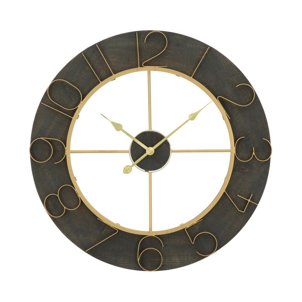 Čierne nástenné hodiny s detailmi v zlatej farbe Mauro Ferretti Norah, ⌀ 70 cm
