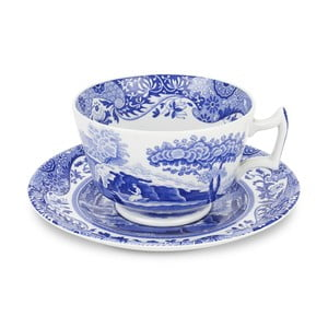 Sada 4 bielo-modrých šálok s tanierikom Spode Blue Italian, 280 ml