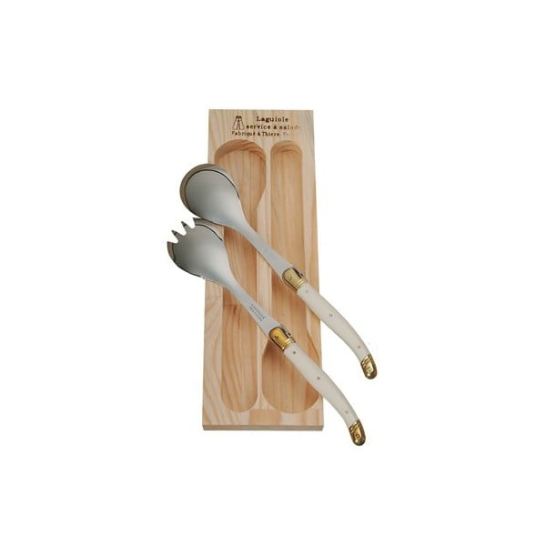 Krémový šalátový príbor v drevenom balení Jean Dubost