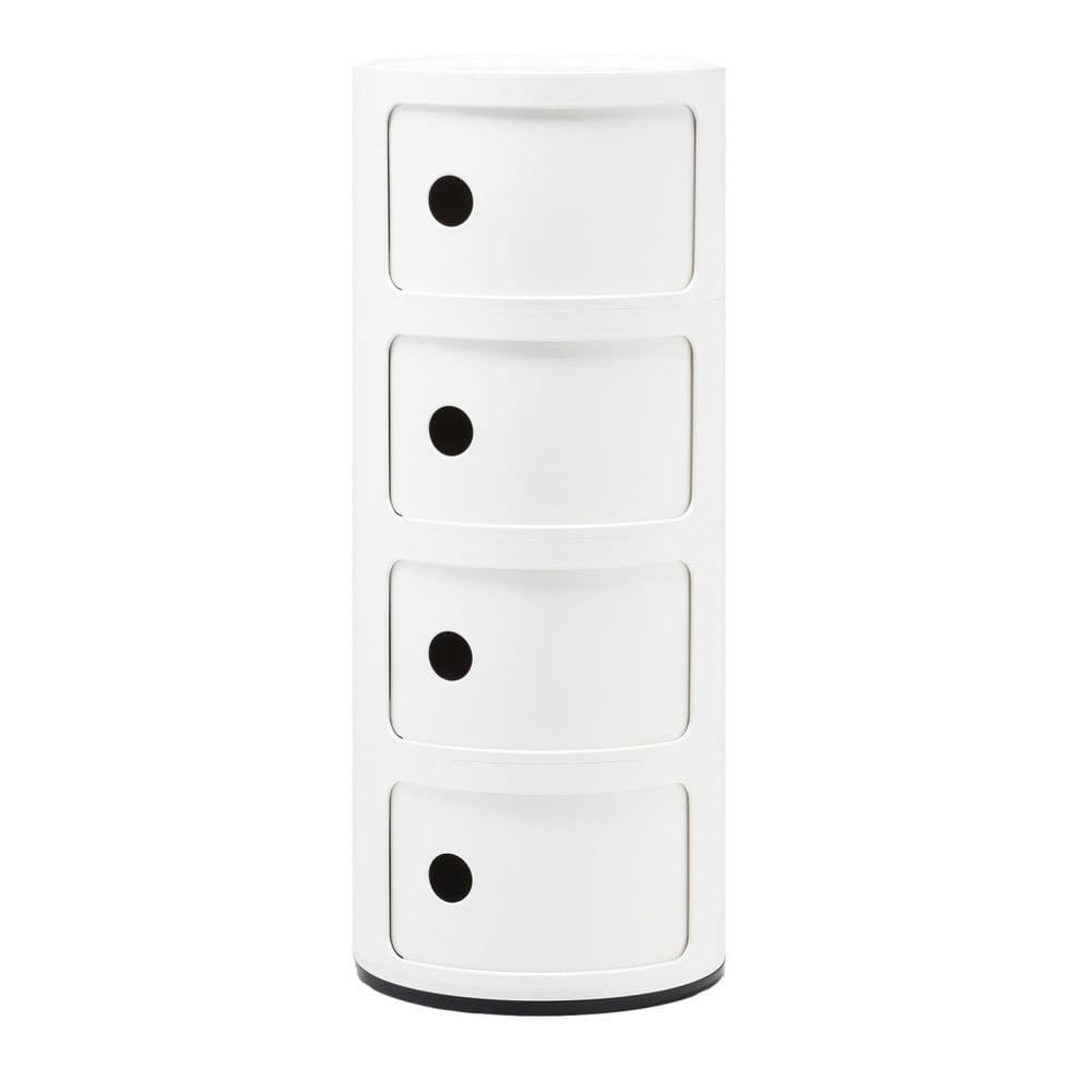 Biely kontajner so 4 zásuvkami Kartell Componibili