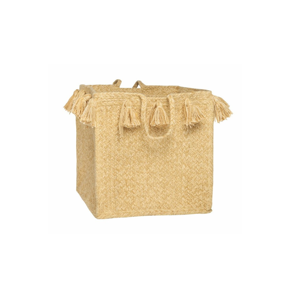 Žltý bavlnený ručne tkaný box Nattiot, ∅ 30 cm