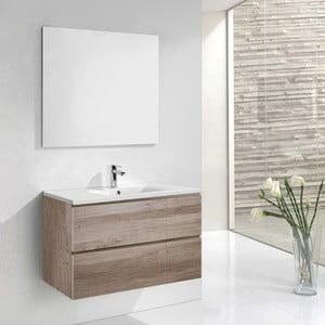 Kúpeľňová skrinka s umývadlom a zrkadlom Monza, dekor dubu, 120 cm