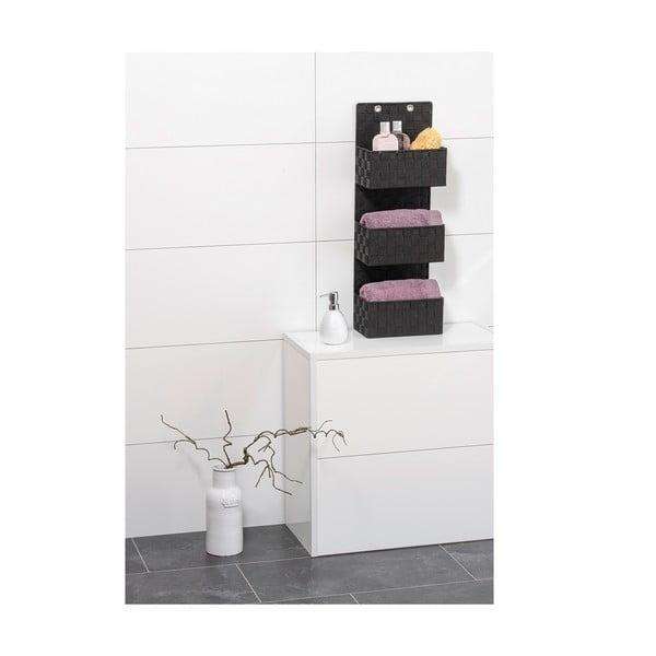 Čierny trojitý kúpeľňový organizér Wenko Adria