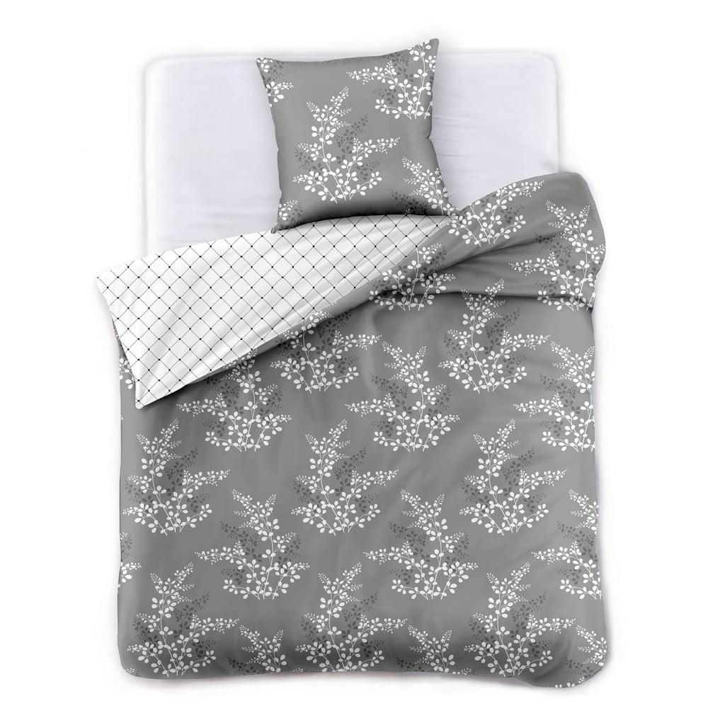 Sivé obliečky na dvojlôžko z mikrovlákna DecoKing Hypnosis Calluna, 240 x 220 cm