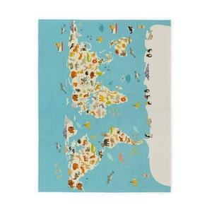 Detský ručne vyrobený koberec Naf Naf World Map, 120×160 cm